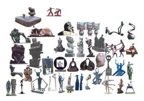 抽象人物金属雕塑psd