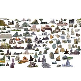 多款自然假山景石雕塑小品psd