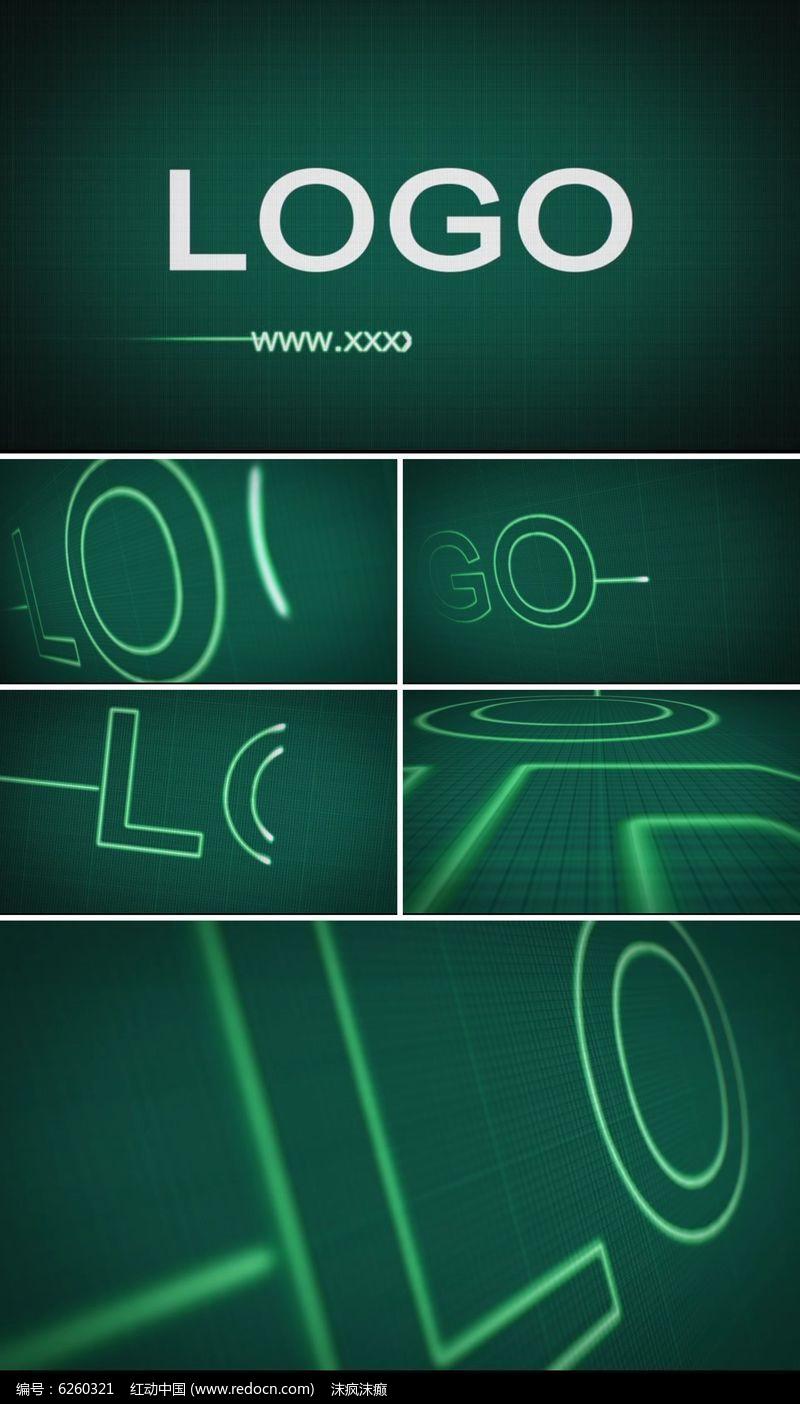 科技心率心电图条纹企业标志展示AE模板图片