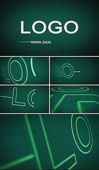 科技心率心电图条纹企业标志展示AE模板
