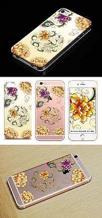 璀璨牡丹花纹手机壳图案