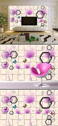 清新素雅花卉3D立体电视背景墙