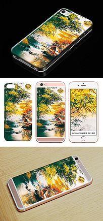 山水风景油画手机壳图案 PSD