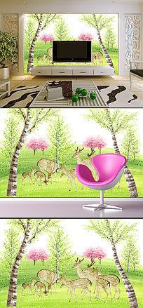 唯美手绘麋鹿树林电视背景墙
