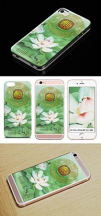 中国风荷花工笔画手机壳图案
