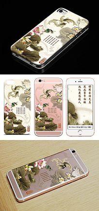 中国风鲤鱼戏荷手机壳图案 PSD