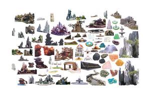 自然假山景石雕塑小品psd