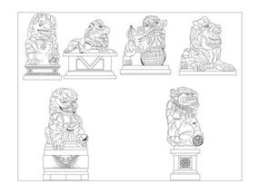 6款狮子石雕小品cad