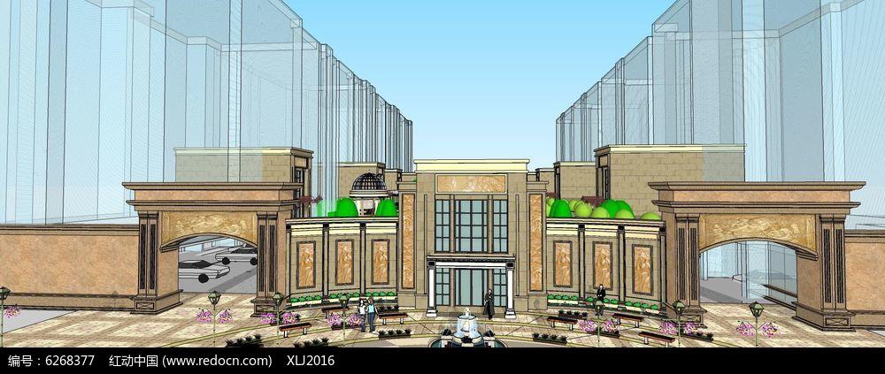大型广场水景小区入口大门su模型图片