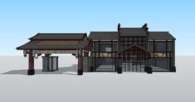 古建公园景区入口SU模型
