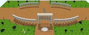 纪念性公园景区入口SU模型