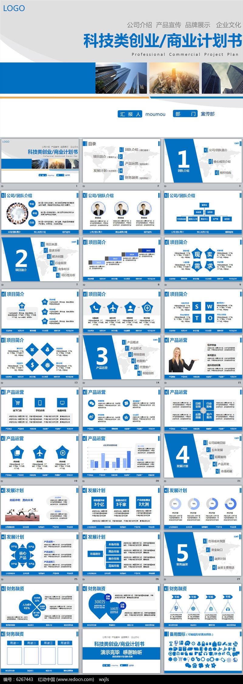蓝色企业文化宣传创业融资招商商业策划计划书ppt模板