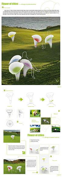 绿色园林公共休息设施展板设计 PSD