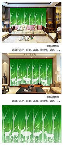 绿野仙境麋鹿背景墙