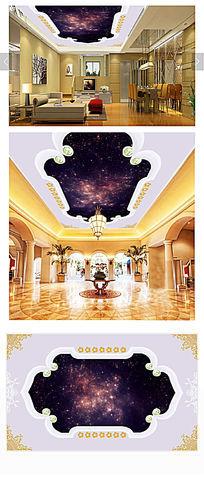 欧式繁星夜空壁画