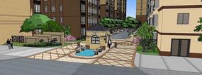 欧式水景住宅区入口SU模型