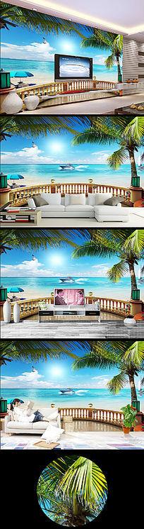 沙滩冲浪大海欧式电视背景墙03