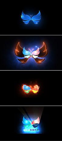 四组震撼光效描边logo标志展示片头ae模板
