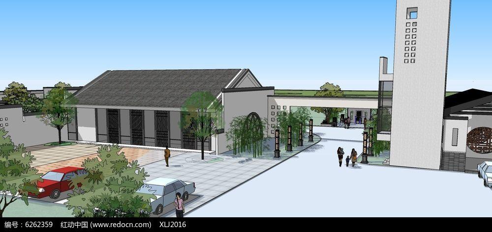 原创设计稿 3d模型库 围墙|栏杆|大门 新中式建筑公园景区大门su模型图片