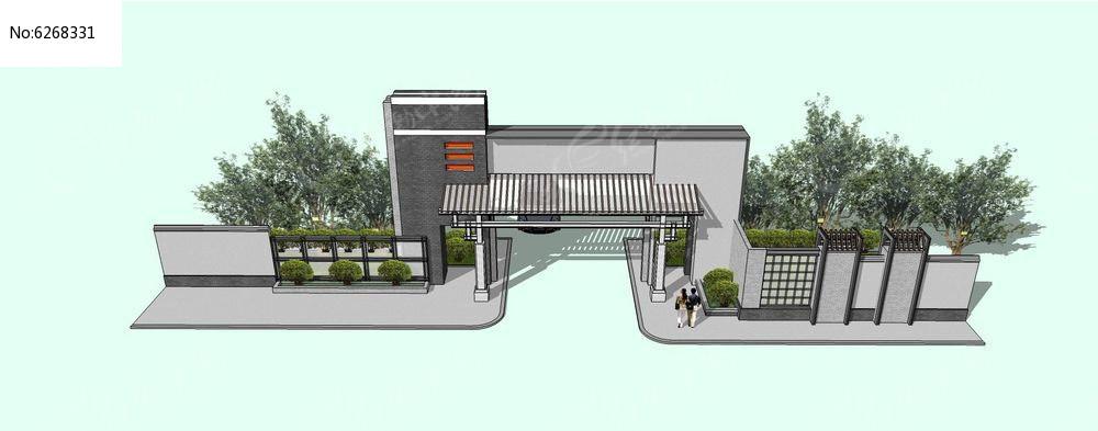 原创设计稿 3d模型库 围墙|栏杆|大门 新中式住宅区大门su模型  请您图片