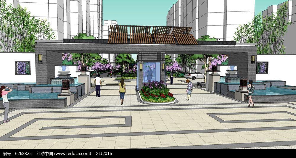 原创设计稿 3d模型库 围墙|栏杆|大门 中式水景住宅区大门su模型  请图片