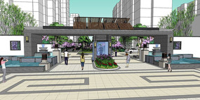 中式水景住宅区大门SU模型