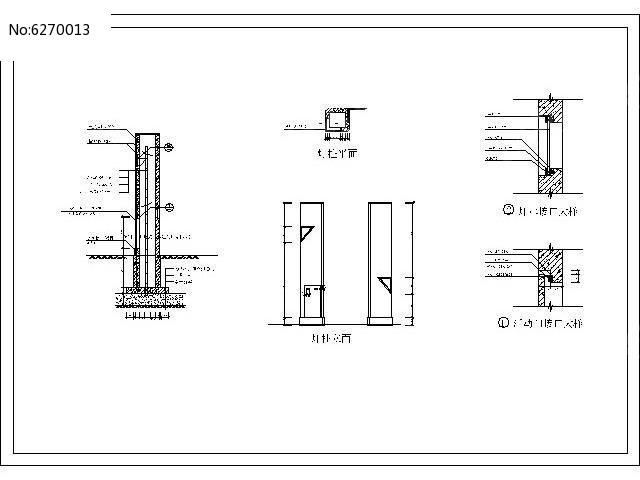 柱形灯柱各立面cad施工图dwg素材下载