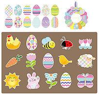 复活节彩蛋及动物卡通素材
