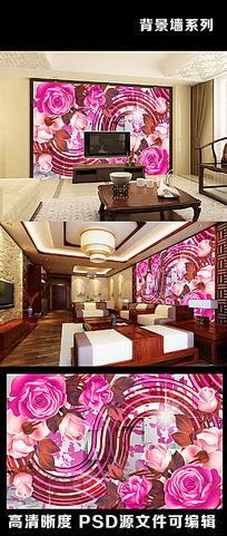3d复古玫瑰花线条流线型欧美风电视背景墙