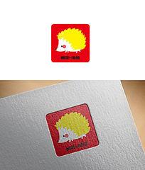 刺猬可爱卡通logo AI