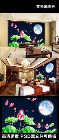 荷塘月色荷花荷叶中国风中式电视背景墙