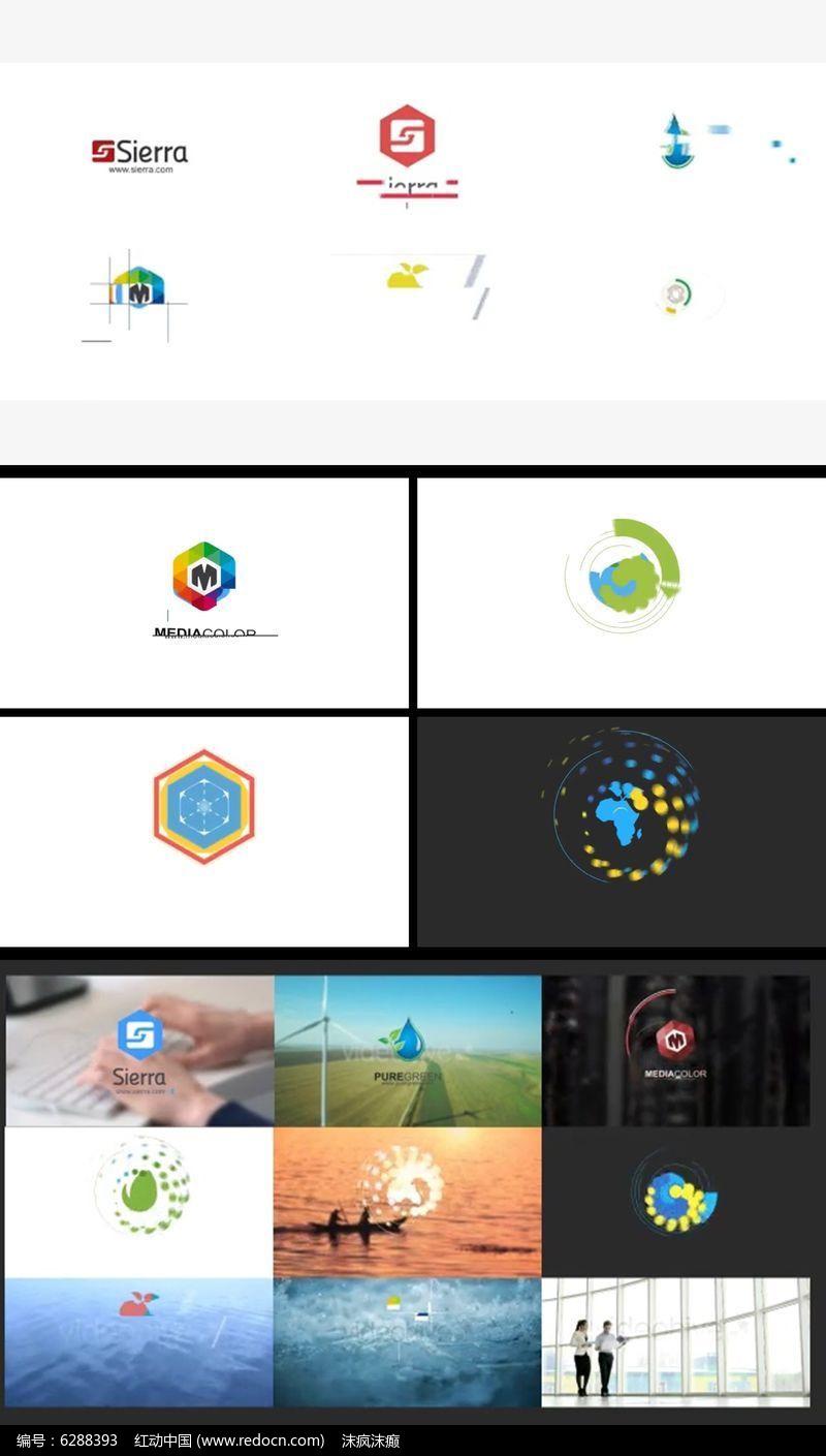 简洁扁平光晕公司企业Logo展示片头AE模板图片