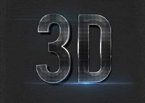 金属3D立体字字体样式 PSD