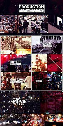 快节奏画面故障闪烁城市旅行宣传片头AE模板