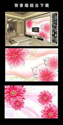 浪漫大气粉色花朵电视背景墙图片设计下载