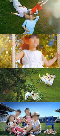 小孩儿童孩子老年人幸福生活家庭视频