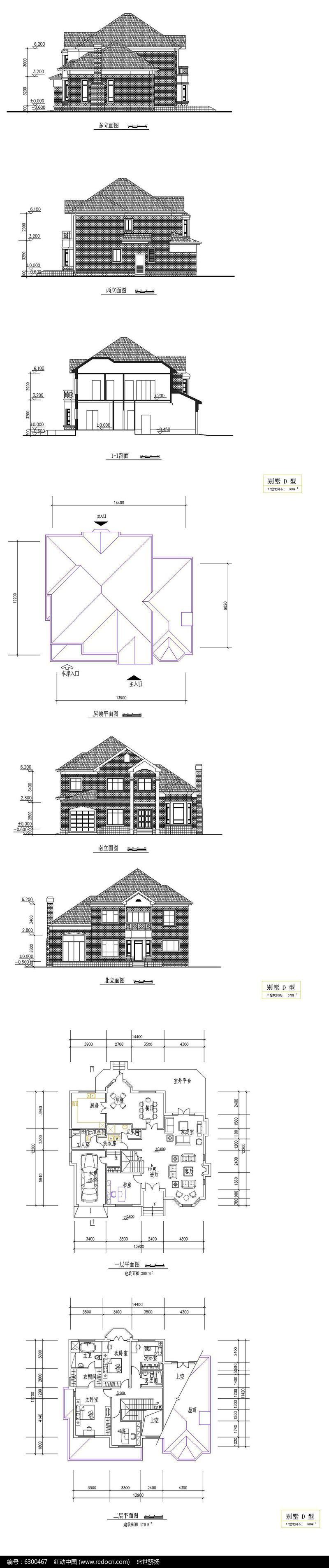 复式别墅建筑CAD图图片