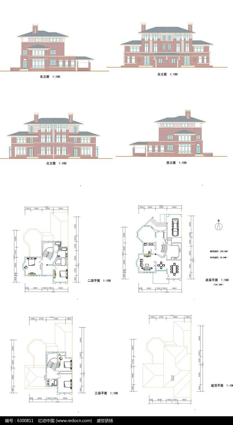 欧式别墅建筑设计CAD图图片