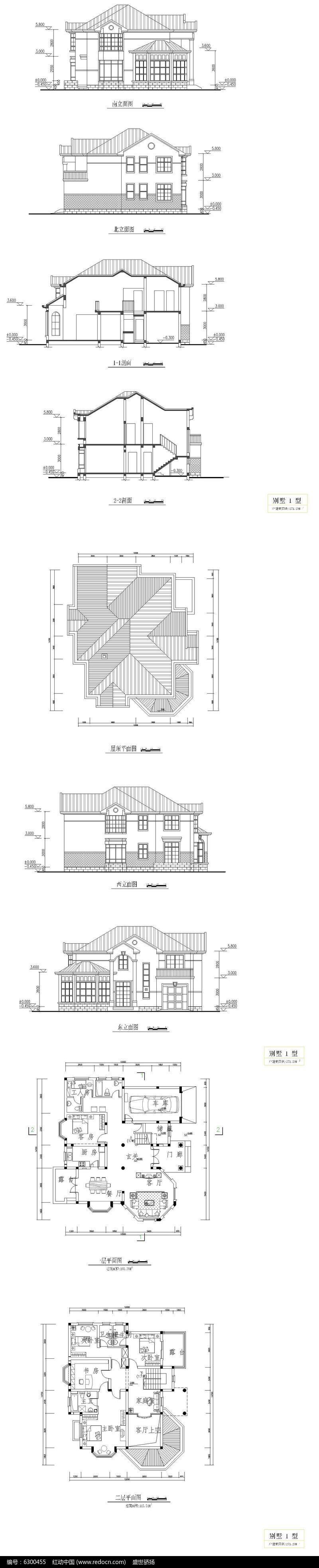 欧式别墅设计CAD图图片