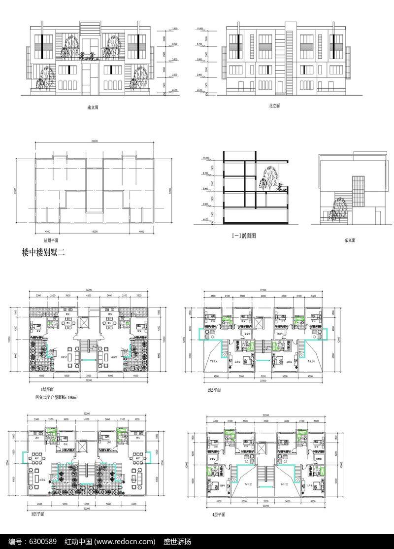 欧式墅建筑CAD图图片
