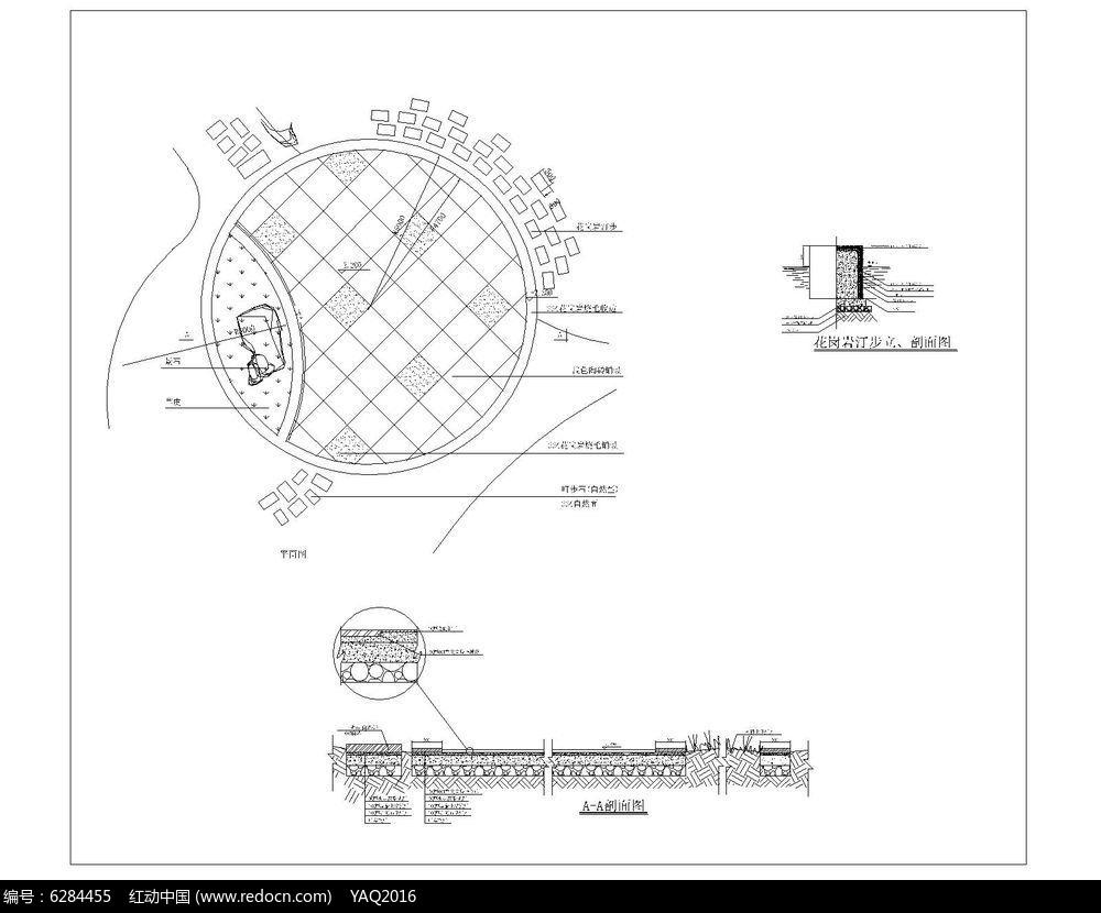 圆形广场手绘线稿平面图