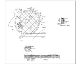 圆形景石广场铺装设计详图CAD