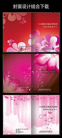 红色粉色花朵心形封面图片设计下载