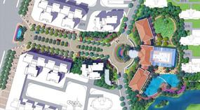 小区入口主轴广场景观彩平图PSD