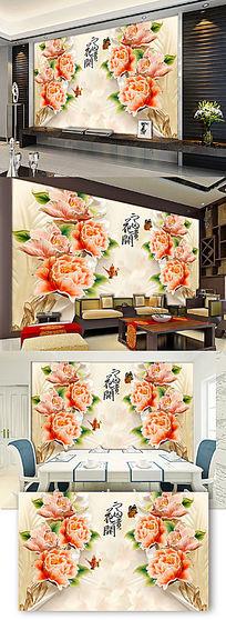 3d浮雕花朵背景墙图片