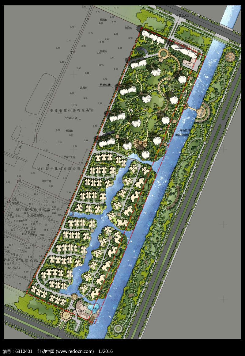 别墅景观建筑规划彩色平面PSD图片