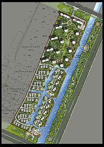 别墅景观建筑规划彩色平面PSD