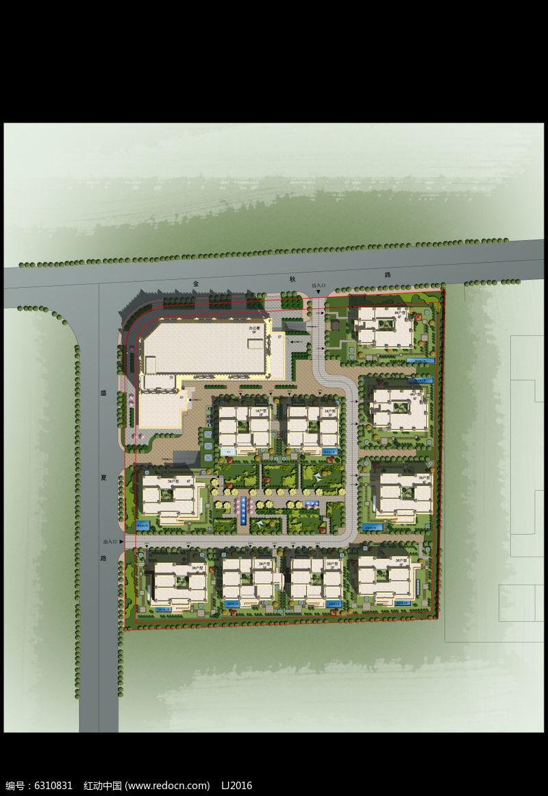 别墅 庭院景观设计彩色平面PSD图片