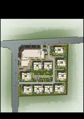 别墅 庭院景观设计彩色平面PSD