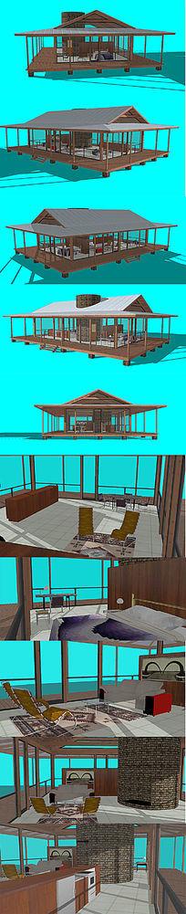 东南亚风格木制阳光玻璃房别墅SU模型设计